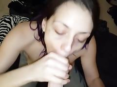 Nice blowjob from cute girlfriend with facial ending