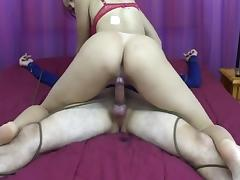 Mistress abuses male slave by milking him tube porn video