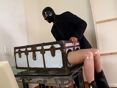 Busty chick in latex clothes having a bondage play with her lover