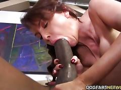 Sensual Janet Mason slavers over this huge cock