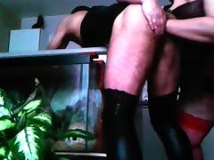 BBW rimming pegging and fisting CD in PVC dress porn tube video