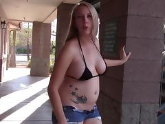 SEX GODDESS TINY BIKINI SHORTS FLASH ASS TITS HIGH HEELS