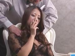 Satomi Suzuki feels more than one cock cracking her vag