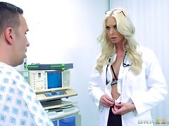 Hot doctor cures her patient by going up and down on his dick