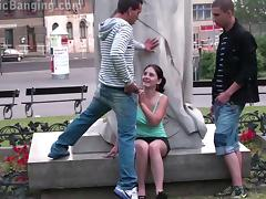 PUBLIC street gangbang threesome with a cute teen girl
