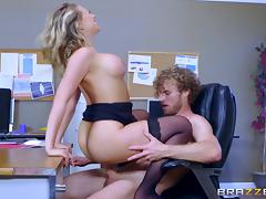 Boring day in the office ends up with a big cock inside Kagney's cunny porn tube video
