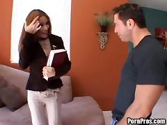 Pretty brunette accepts to take the man's cock into her beaver