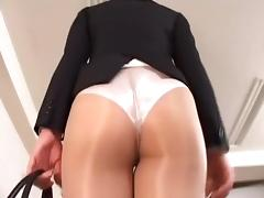 Officelady in sheer pantyhose porn tube video