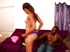 Cute black slut with a nice bubble butt bangs a black guy