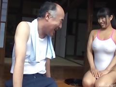 Nozomi gladly lets the mature guy touch her attractive curves