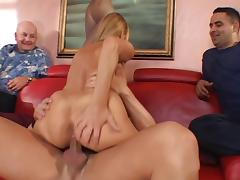 Hot married blonde strips down and gets her shaved pussy licked