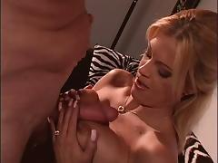 Mature bitch titty fucks stud and takes a facial