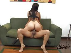 Latina rides this hard cock