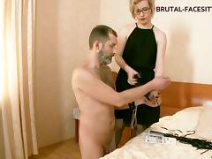 Foot and pussy worship for his gorgeous blonde mistress