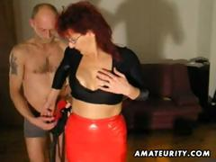 Redhead amateur Milf sucks and fucks with cumshot tube porn video