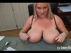 Chubby with natural tits masturbating lovely in the reality office shoot