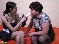 Mature lady enjoying lesbian strapon porn tube video