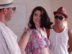 Double penetrated fat ass girl makes their dicks cum porn tube video
