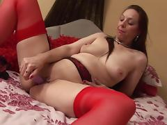 Curvy matured babe in nylon stockings drilling her juicy pussy lovely using toy porn tube video