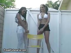 Two sexy girls go crazy pissing part5
