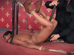 Short-haired chocolate girl and the biggest bondage adventure ever porn tube video