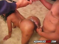 Decorating her ass crack with the sticky load