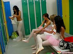 This ballet class turns into a wild lesbian orgy on the dance floor porn tube video