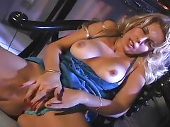 Horny Blond Grabs Her Tits in Fingerbang porn tube video