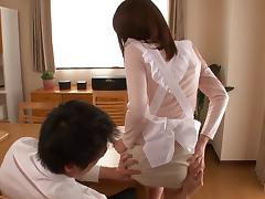 Cute Japanese housewife offers her pussy for his cock