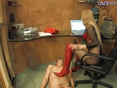 Foot fetish diva spanking her slave lovely in femdom BDSM porn porn tube video