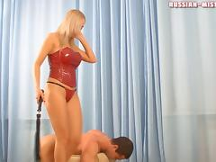 Sexy mistress in a red corset abuses her horny submissive porn tube video