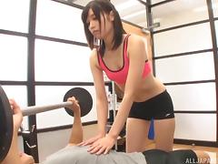Japanese gym is a great place to do some wild cock riding tube porn video