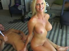 Handsome man and a gorgeous milf fuck as she sucks a second dude tube porn video