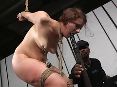 Short-haired is in a bondage plays with her chocolate captor porn tube video