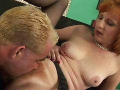 Nice mature pornstar in nylon stockings riding a stiff pecker on a couch porn tube video