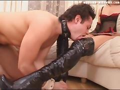 Slave in bondage unpinning cowgirl high heels in femdom porn
