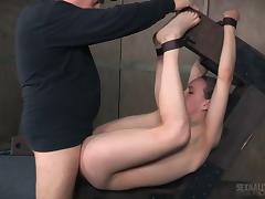 Tight pussy girl in gorgeous bondage fucked by her master porn tube video