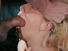 Delicious blonde in black stockings and Tyler's fully erected dick
