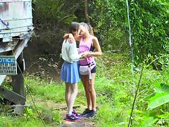Spontaneous lesbian teen kissing her babe then showing of her juicy pussy in the forest porn tube video