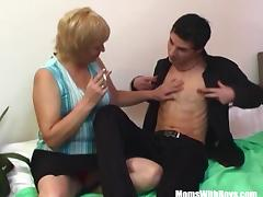 Mature Blonde Mama Sucks Young Cock While Smoking