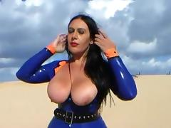 Blowjob Officer in the Dune - Public Latex Blowjob Handjob - Cum in my Mouth tube porn video