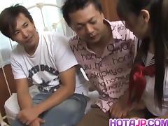 Momo Aizawa in uniform sucks and rubs dicks and has crack