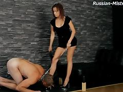 Leashed sub does whatever his gorgeous mistress commands porn tube video