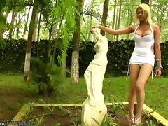 Cherubic blonde shemale with big tits stroking her stiff cum gun