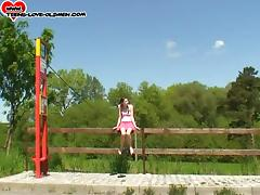 First-time outdoors banging for the hot teen of the petite build