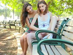 Cute chicks on a park bench finger blasting each other