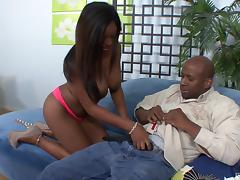 Fat chocolate dick brings Tatiana all the pleasure she ever needed