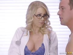 Flamboyant blonde doctor cures her patient by riding his thick cock porn tube video