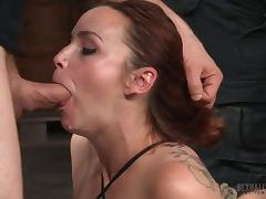 Hard gangbanging fun of a sexy girl in bondage porn tube video