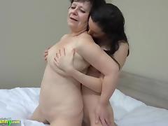 OLDNANNY Hot girl with strapon fucks big fat granny porn tube video